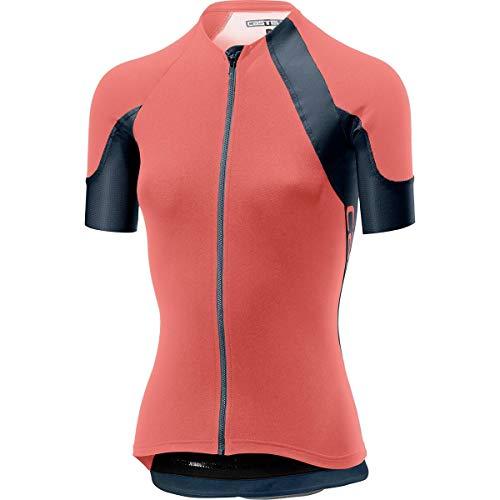 Castelli Women's Scheggia 2 Full Zip Bike Jersey (Salmon/Dark Steel Blue, Small)
