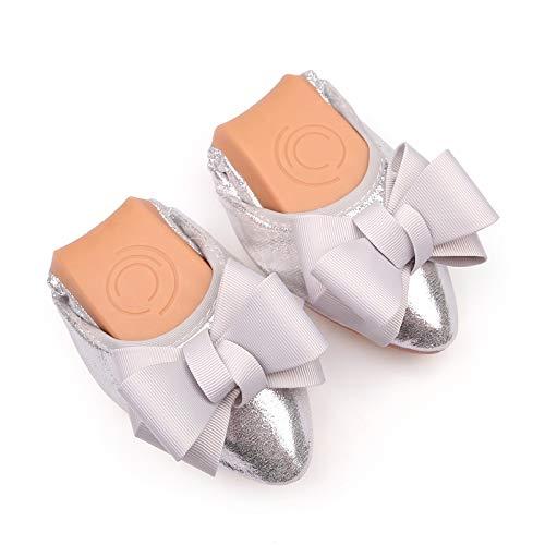 fiocco confortevole da basse da dolce scarpe scarpe FLYRCX pieghevole donna ballo scarpe morbido scarpe Silver singole Moda e incinta EqwCH