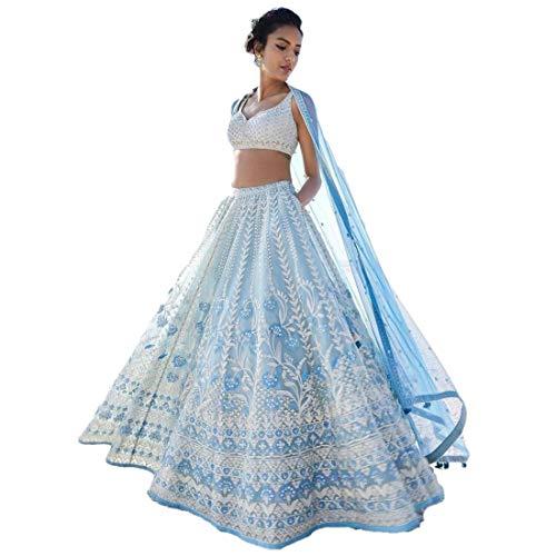 REKHA Ethnic Lehenga Choli Indian Women Designer Partywear Ethnic Traditional Lehenga Choli Wedding Wear Lehenga 15 Sky Blue