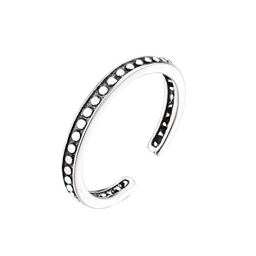Cross Solid Silver Wave Sterling (Sterling Silver 925 Stackable Open Toe Band Ring Adjustable Vintage Rings for Women Girls Men)
