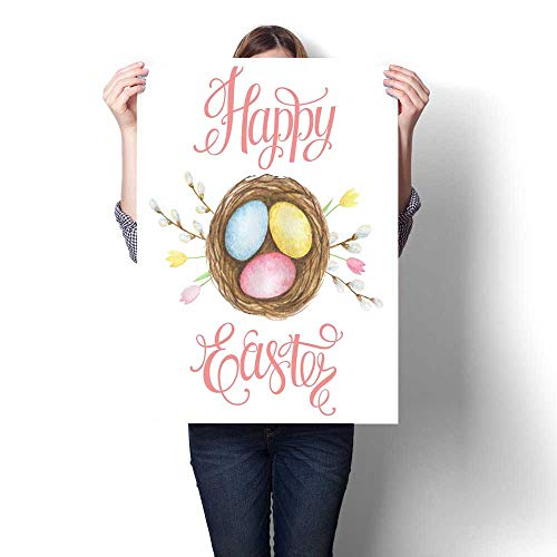 Anshesix Hanging Painting Watercolor Easter nest Ready to Hang for Home Decorations Wall Decor 16