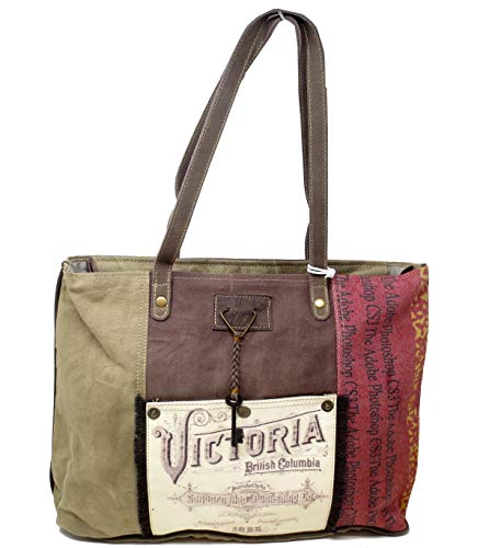 (Chloe & Lex Upcycled Victoria Distressed Canvas and Leather Tote Bag)