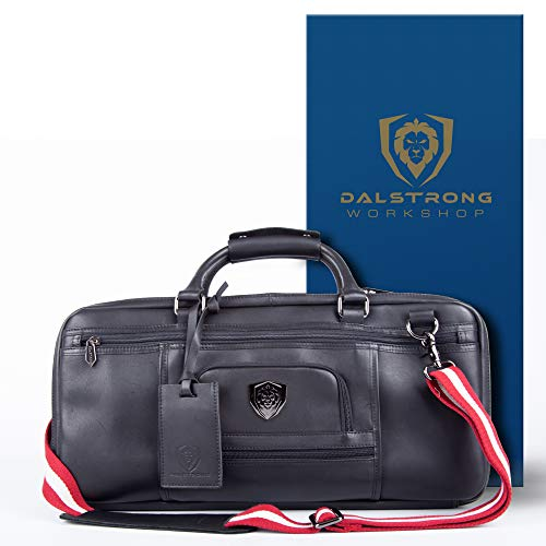 DALSTRONG Premium Knife Bag - Extra Large 45 Knife Slots - Luxurious Top Grain Brazilian Leather Roll Bag - Extra Durable Polyester Mesh Pockets - Exterior Pockets -The Culinary Commander