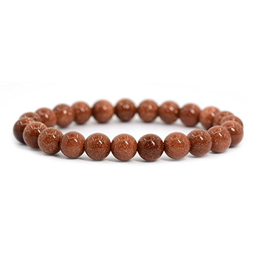 Goldstone Gemstone Beads - Synthetic Goldstone Gemstone 8mm Round Beads Stretch Bracelet 7
