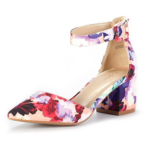 DREAM PAIRS Women's Annee Floral Low Heel Pump Shoes - 7 M (Womens Low Heel)