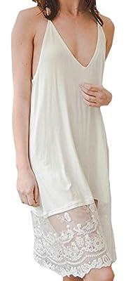 Marilyn & Main Women's T-Back Midi Lace Slip Night Dress (Small, Ivory)