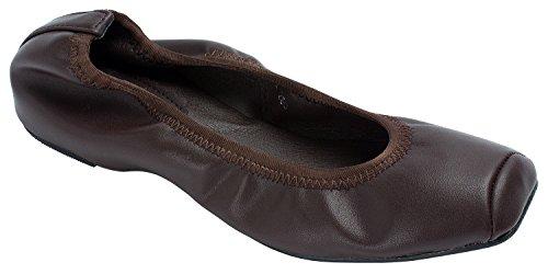 Annakastle Kvinna Vegan Läder Fyrkantiga Tå Balett Lägenheter Halka På Skor Mörkbrun