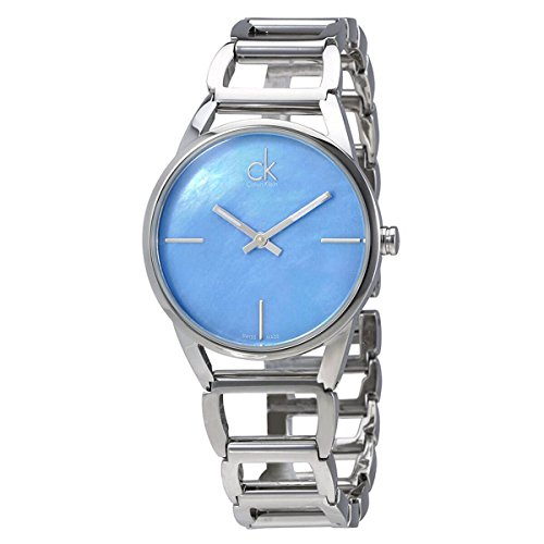 Calvin Klein Womens Stainless Steel Watch with Metal Band - Ladies 34mm Analog Blue Mother of Pearl Face, Luminous Hands - Luxury Swiss Made Quartz Dress Watches For Women K3G2312N by Calvin Klein