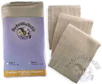 Swaddlebees 6 Cotton Prefold Diapers - Medium from Swaddlebees Cloth Diapers