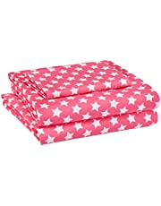 Amazon Basics Kid's Sheet Set - Soft, Easy-Wash Microfiber - Twin, Pink Stars