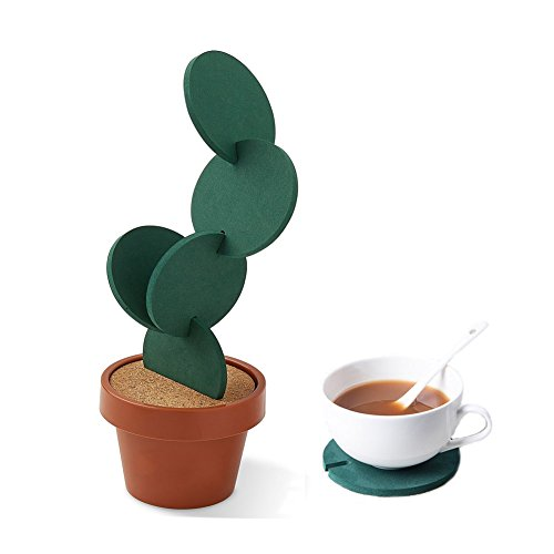 Cactus Coasters Set of 6 with Pot Shaped Holder, Prevents Table Damage and Spill, Gift ideal for Home and Office by Miragee