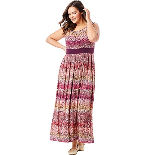 Waist Banded Dress - Woman Within Women's Plus Size Banded Waist Print Maxi Dress - Raspberry Ombre Dot, 5X