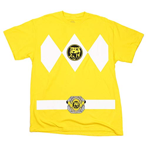 Power Rangers Yellow Rangers Costume Adult T-shirt Tee (Large) (Mighty Morphin Power Rangers The Wanna Be Ranger)