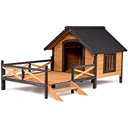 Home Large Dog House Lodge w Porch Deck Kennels Crates Spacious Deck Keep Rain Out Countryside Style
