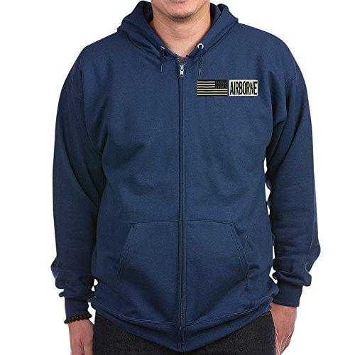 CafePress - U.S. Military: Airborne (Black F - Zip Hoodie, Classic Hooded Sweatshirt with Metal Zipper