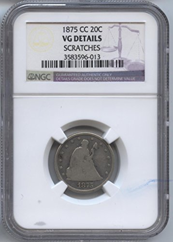 1875 CC Liberty Seated Twenty Cent Piece VG Details NGC #3583596-013