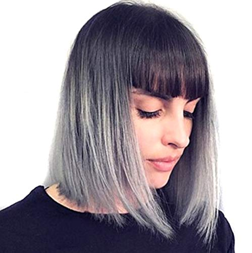European American Short Wig Gradient Gray Center Separation Shoulder Length Sexy Synthetic Hair Role Playing Party 14 Inches -