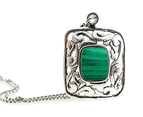 Malachite Necklace Bezel Set Gemstone in Sterling Silver Filigree Pendant on Sterling Silver Box Chain