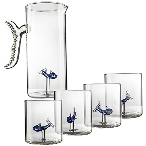 Wine, Water, Whiskey Fish Decanter and Glasses - The Wine Savant, Cylindrical Tumbler Glasses With a Matching Glass Pitcher and Fishtail Handle - 1300ml Decanter - 275ml Glasses