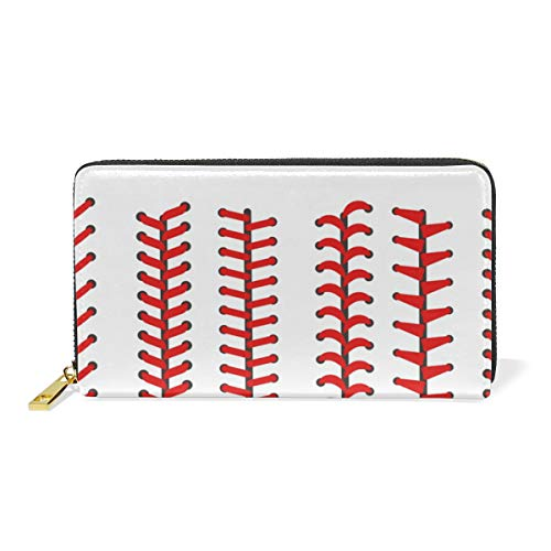 LALATOP Baseball Laces Icons Genuine Leather Zipper Wallets Clutch Coin Phone for women