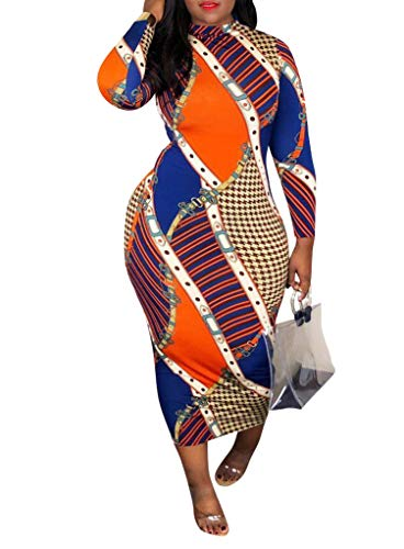 - Ophestin Women Sexy Long Sleeve Turtleneck Chains Stripe Print Bodycon Slim Sheath Long Midi Pencil Dress Apricot Orange XXL