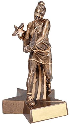 Decade Awards Tennis Gold Star Resin Trophy - Female | Tennis Award | 6.5 Inch Tall - Customize Now