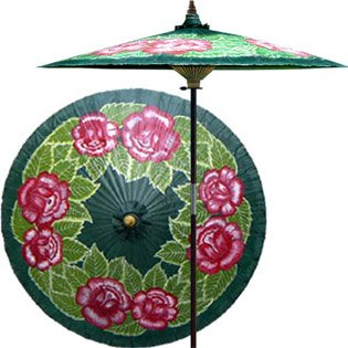 Summer Roses 7 Foot Patio Umbrella With Base   Dark Green