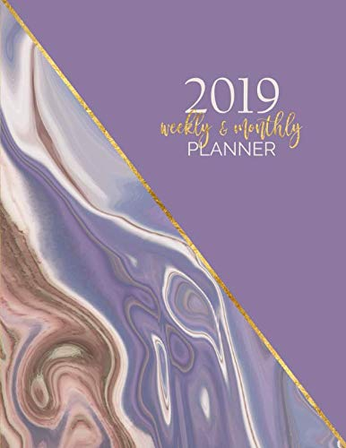 - 2019 Weekly and Monthly Planner: 12-Month Agenda and Organizer with Inspirational Quotes - Abstract Lilac Gold Print (Elegant Agate Marble Series)