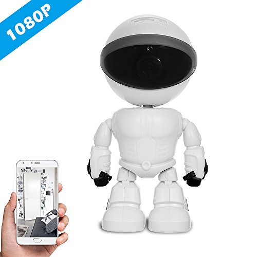 Cigopx HD 1080P WiFi Robot Security IP Camera Pan Tilt WiFi Camera Support P2P Night Vision Motion Detection Two Way Audio Phone App Control with TF Card Slot