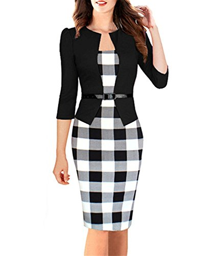 Toping Fine Womens Elegant Three Quarter Sleeve Cotton Blends Patchwork with Sashes Pencil Office Dress Suits BlackLarge by Toping Fine wool-outerwear-coats (Image #1)
