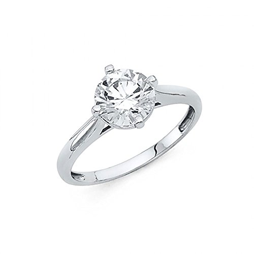 American Set Co. 14k White Gold CZ Taper Cathedral Solitaire Engagement Ring