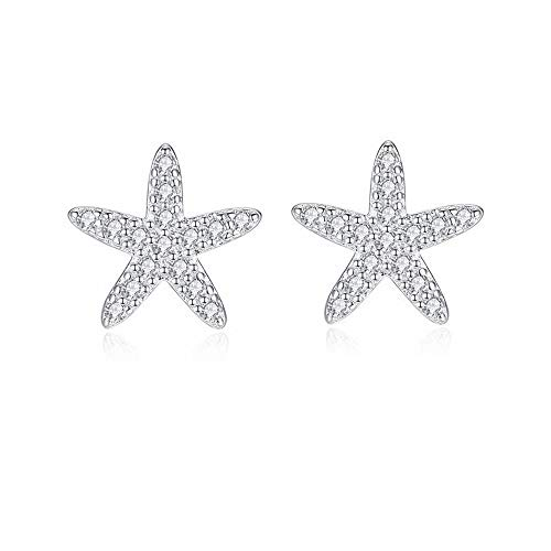 Huggie CZ Starfish Stud Earrings for Women Teen Girls S925 Sterling Silver 18K White Gold Plated Pave Crystal Tiny Star Post Pin Ocean Beach Summer Hypoallergenic Jewelry Wedding Birthday Gift - Starfish Cubic Zirconia Charm