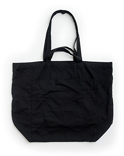 (BAGGU Giant Pocket Tote, Oversized Stylish Canvas Bag for Easy Carrying, Black)