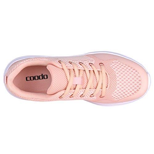 Coodo Zapatillas Ligeras Para Mujer Casual Zapatillas Atléticas Para Correr 1 Rosa
