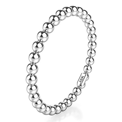 (Sz 8.0 Solid 10K White Gold 2MM Eternity Bead Wedding Band Ring)
