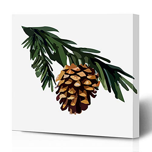Ahawoso Canvas Prints Wall Art 12x16 Inches Brown Pinecone Pine Cone On Branch Holidays Cedar Nature Green Christmas Coniferous Drawing Evergreen Decor for Living Room Office Bedroom