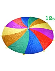 NARMAY Play Parachute for Kids Rotating Rainbow