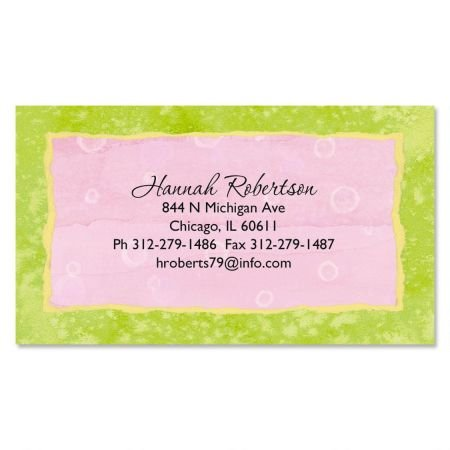 Pink and Green Business Cards - Set of 120 2'' x 3-1/2'' custom business card design; 80# Cover Stock, Opaque, Matte