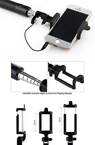DK Compact Wired Monopod Extendable Selfie Stick with AUX Wire Built-in Remote Pocket Size Sefie Stick for All Smartphone