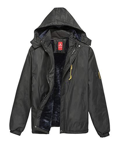 KORAMAN Men's Mountain Water-Resistant Winter Fleece Snow Ski Jacket Coat with Detachable Hood Black L