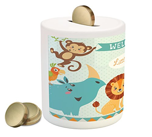 Lunarable Baby Shower Piggy Bank, Welcome Little Poster Design with Lion Panda Toucan Koala Birds and Monkey, Printed Ceramic Coin Bank Money Box for Cash Saving, Multicolor ()