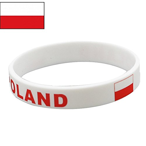 TDoperator Poland Flag Silicone Bracelet FIFA World Cup 2018 For Soccer Fan Unisex Design Soft and Durable Wristband for National Football Supporters Fans Fashion Sport Wrist Strap Souvenir Gift