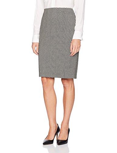 (Kasper Women's Novelty Herringbone Slim Skirt, Black/Ivory 12)
