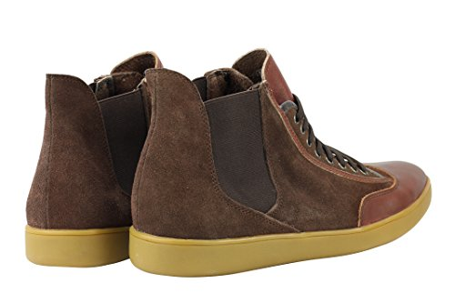 Mens Black Brown Real Suede & Leather High Top Designer Style Smart Casual Sneaker Trainers Shoes Brown dyc6Fca