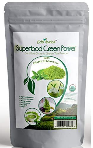 Mint Matcha Green Tea Powder - ECO NAVA - Certified USDA Organic - GMO Free - 100% Natural - Premium Grade Matcha Tea Powder for Making Cake, Smoothie, Latte & Baking - 250g / 9oz Bag