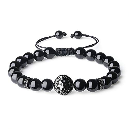 COAI Handmade Black Tourmaline Stone Beaded Lion Head Bracelet ()