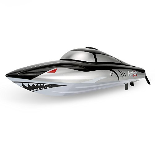 FunTech RC Model Sharkey Racing Boat - High-Speed Electric Lake and Pool Version [Black]