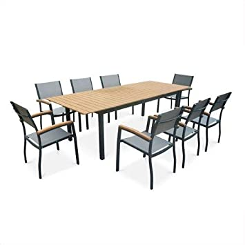 Salon de Jardin en Bois Sevilla Aluminium Extensible table200/250cm ...