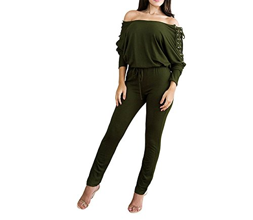 (Puissant Unique Women Solid Off Shoulder Jumpsuit Lace up Eyelet Holes Bandage Bodycon Clubwear Romper Playsuit,Small,ArmyGreen)