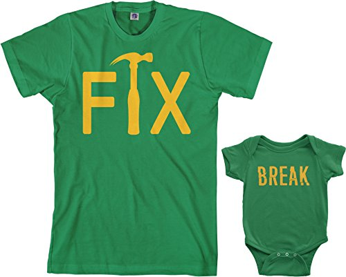 Threadrock Fix & Break Infant Bodysuit & Men's T-Shirt Matching Set (Baby: 12M, Kelly Green|Men's: 3XL, Kelly Green) -